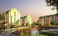 黄昏时水边的小区住宅楼效果图