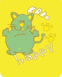 黄色背景上可爱的卡通猫咪