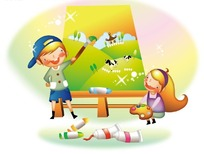画油画的小男孩和拿着调色板的小女孩