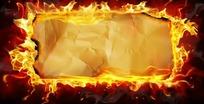 火焰牛皮纸纸张背景psd素材