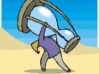 卡通人物抱着沙漏