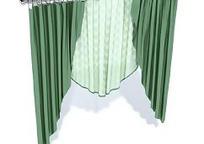 绿色三角旗式两层窗帘模型
