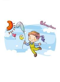 拿着数字7气球飞起来的小男孩