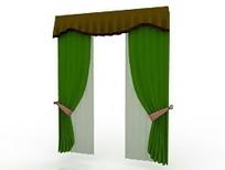 平帷帘头对开双层窗帘模型