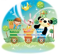 坐在小列车上可爱的小动物和小男孩