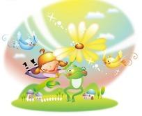抱着花朵飞起来的小女孩和可爱青蛙