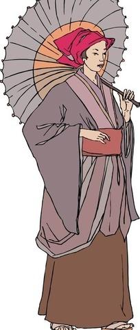 手绘端着碗的古代日本女子