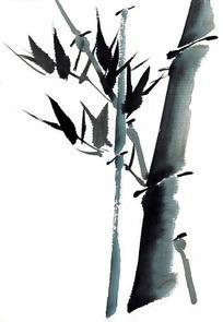单色水墨画竹子图片