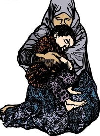 儿子在妈妈怀抱睡觉