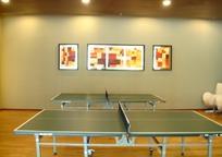 放在房间里的两张乒乓球桌和壁画图片素材