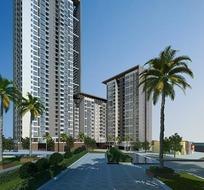 高层住宅楼小区园林规划日景效果图设计