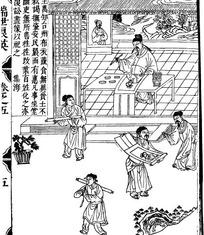 古代人物白描插画-写毛笔字的男子和其它人物