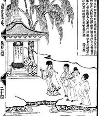 古代人物白描图谱-柳树下的亭子和许多人物