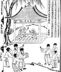 古代书籍人物白描插画-亭子下童子和许多人物图片