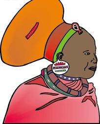 黑人妇女头像矢量图