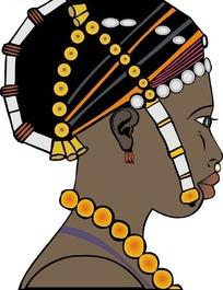 黑人女人头像矢量图