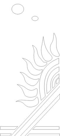 火焰纹和直线构成的黑白图案图片