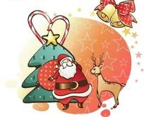 可爱的圣诞老人和麋鹿