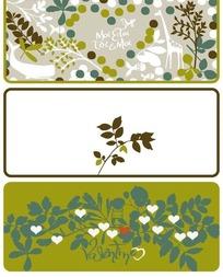 三款长方形树叶和圆点、心形组合背景的小卡片