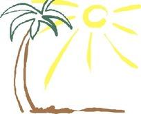 太阳与椰子树矢量图