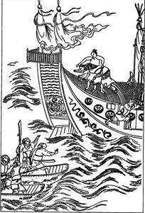古代人物白描图-大船和小船上的人物