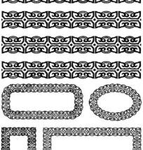 古代人物白描图-卷曲纹构成的边框