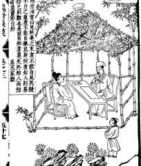 古代人物白描图谱-亭子下的男子和竹子