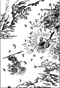 古代人物白描图-舞剑做法的男子和打斗的人物图片