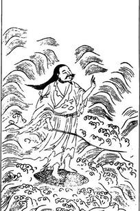 中国古代神话图谱_古代神话人物白描图谱-水波上的男子图片