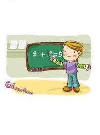 卡通教数学题的小男生