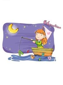 卡通小船上钓字母的小女孩