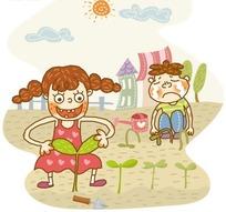 种树苗的小女孩和伤心小男孩