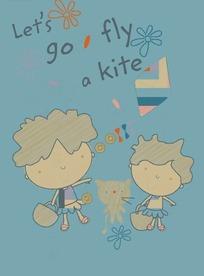手绘挽着篮子的男孩女孩和小猫
