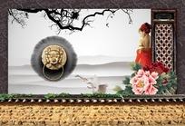 牡丹花旁靠着门框的古典美女PSD素材