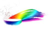 藤蔓花饰及彩虹水墨涂鸦