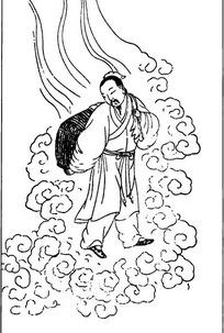 古代人物白描图谱-云纹中的背负包袱的男子