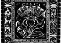 中国古典图案-花朵叶子和寿字纹构成的方形图案