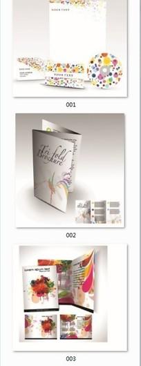3款炫彩花纹图案VI模版