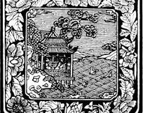 中国古典图案-花朵叶子和亭子构成的图案