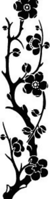 中国古典图案-梅花和梅枝构成的精美图案