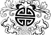 zhongguoyijisheqingpian_蝴蝶和卷曲纹以及花朵叶子构成的矢量图