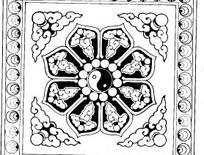 中国古典图案-云纹和太极图构成的图案
