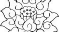 中国古典花纹荷花线描图
