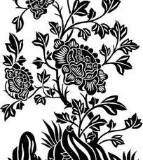 中国古典图案-带纹理的花朵和羽状复出叶子
