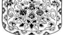 中国古典图案-花朵叶子和如意图形构成的图案