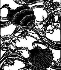 中国古典图案-松叶和曲线构成的图案图片