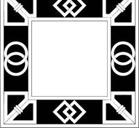 中国古典图案-圆形菱形和直线构成的窗格图片