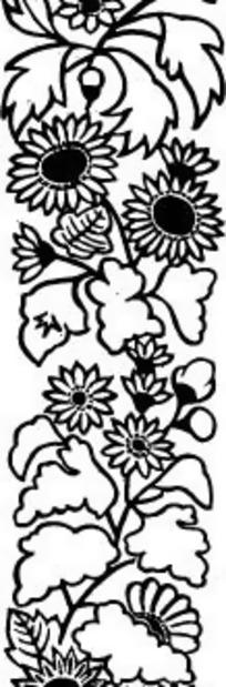 边框简单剪纸图解花