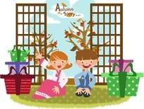 小女孩坐着指着礼物 和小男孩坐着等待拆礼物