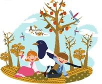 一个小男孩和小女孩坐着快乐的招手及一只鸟